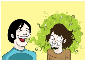 A cartoon of two guys. One with black hair and blue shirt is laughing with a green cloud of bad breath. The green cloud of bad breath has surrounded the second guy with brown hair, goatee, and brown shirt. The second guy is grimacing with crossed eyes at the smell.
