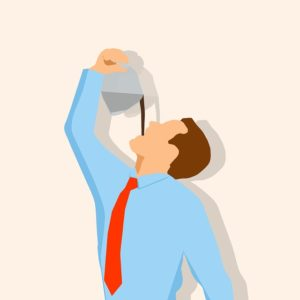A cartoon image of a white male with short brown hair, in a blue, long-sleeved collared shirt and reck necktie, with his face tipped upward. He is holding a coffee pot at arm's length above his face and pouring coffee straight down his throat. Your gag reflex protects you from things improperly entering your throat, airway, and esophagus - whether it is a liquid like coffee or something solid like a sword.